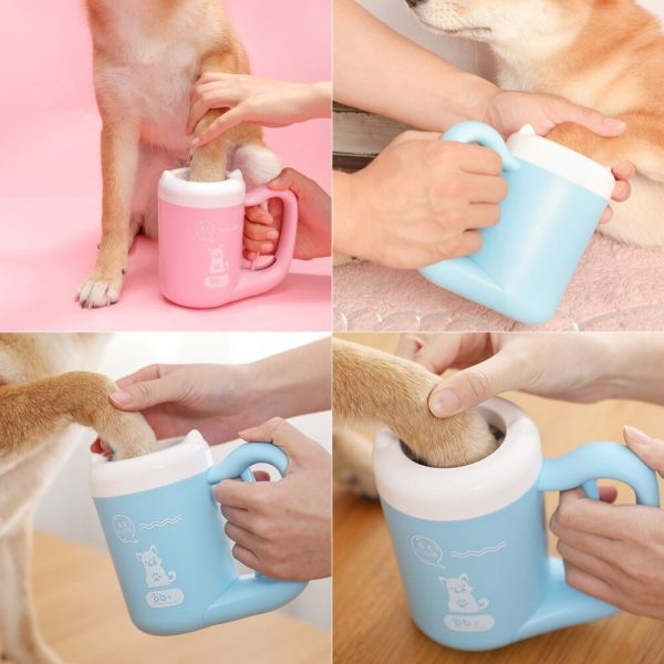 Automatic Paw Cleaning Cup in blue and pink using by a dog