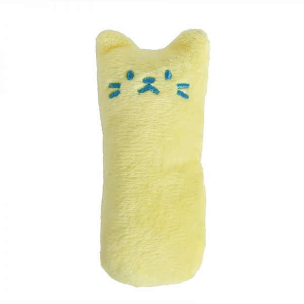 Mini Plush Cat Chew Toy Yellow