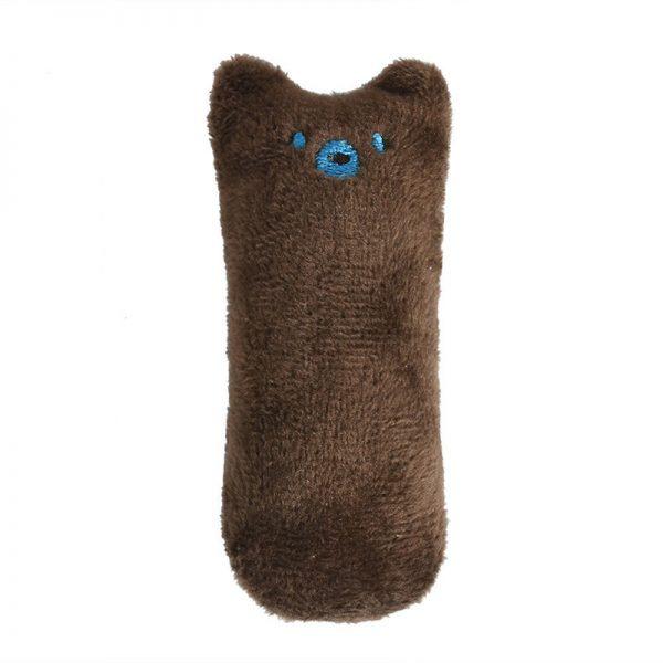 Mini Plush Cat Chew Toy Brown