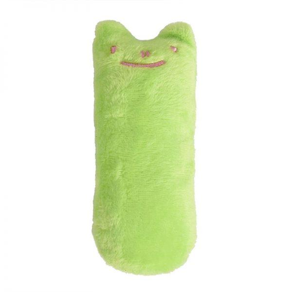 Mini Plush Cat Chew Toy Green