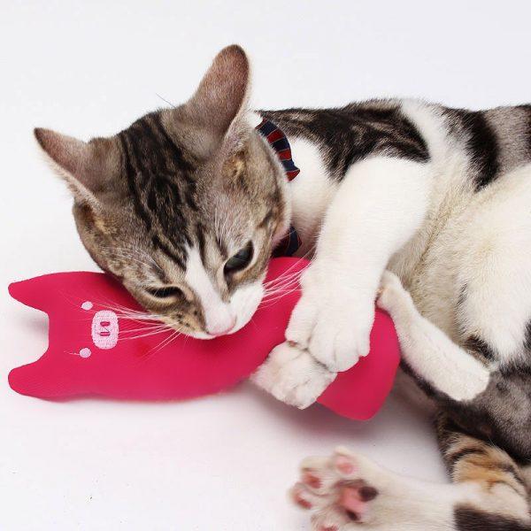 Mini Plush Cat Chew Toy pink cat holding