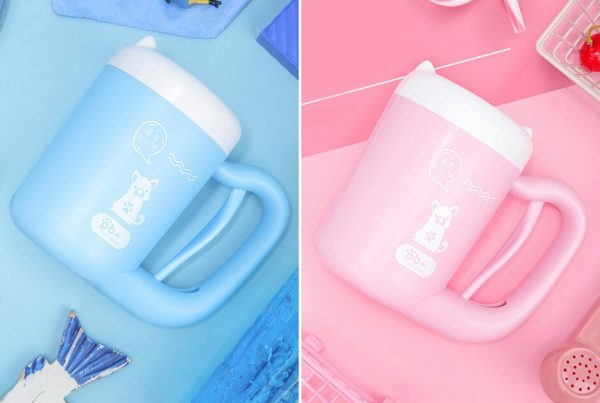 Automatic Paw Cleaning Cup in blue and pink side by side