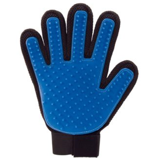 Pet grooming glove blue