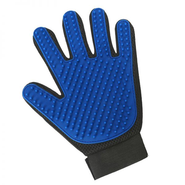 Pet grooming glove blue left hand
