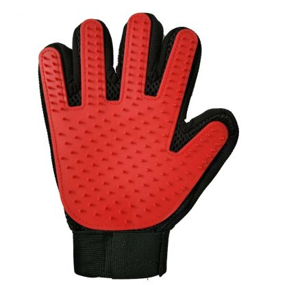 Pet grooming glove red