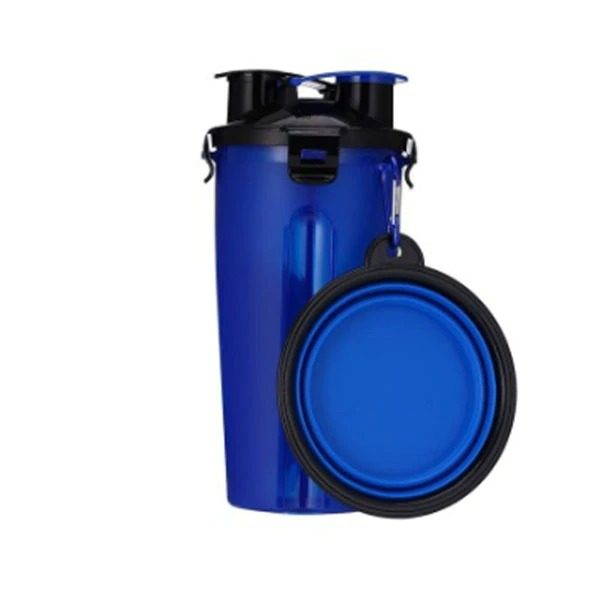 2 in 1 Pet Travel Bottle with Bowl Blue