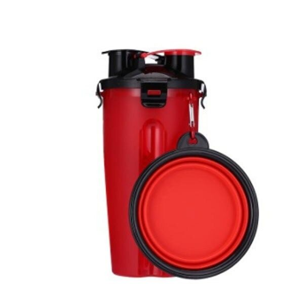 2 in 1 Pet Travel Bottle with Bowl Red