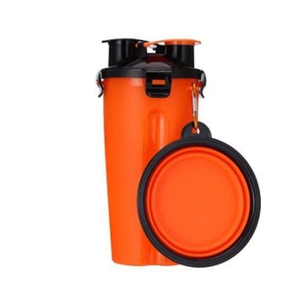 2 in 1 Pet Travel Bottle with Bowl Orange