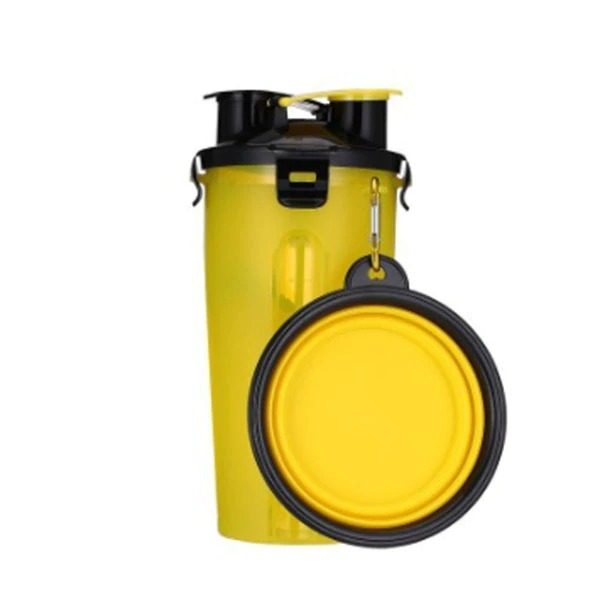 2 in 1 Pet Travel Bottle with Bowl Yellow