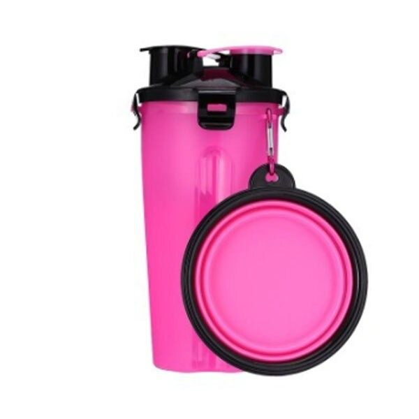 2 in 1 Pet Travel Bottle with Bowl Pink