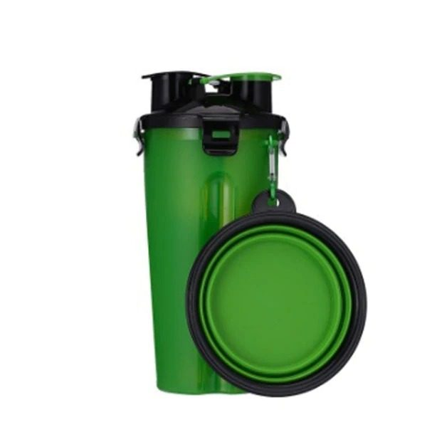 2 in 1 Pet Travel Bottle with Bowl Green