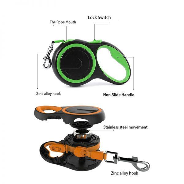 Anti-Tangle Retractable Nylon Dog Leash