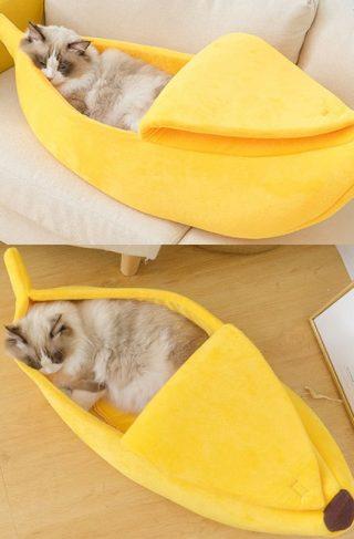 Cozy Banana Cat Bed
