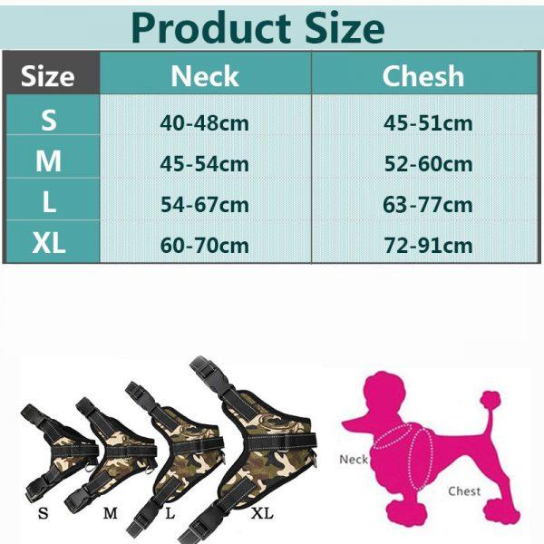 Tailup Mesh Dog Harness Sizing Chart