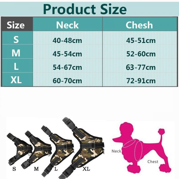 Tailup Neoprene Dog Harness Sizing Chart